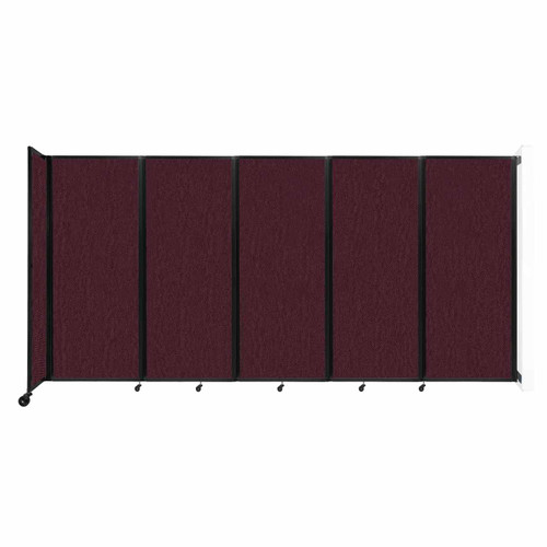 """Wall-Mounted Room Divider 360 Folding Partition 14' x 6'10"""" Cranberry Fabric"""