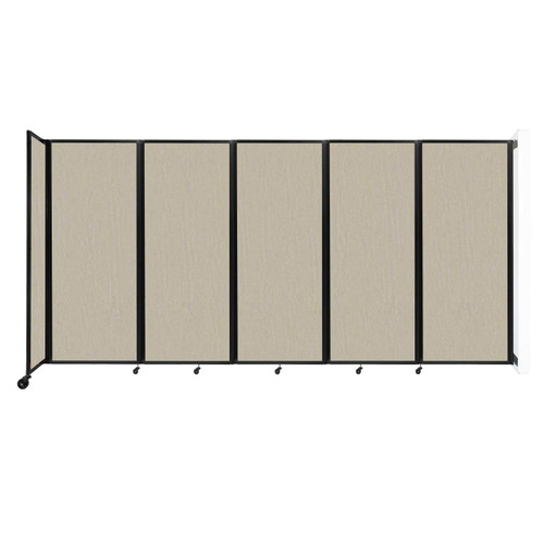 """Wall-Mounted Room Divider 360 Folding Partition 14' x 6'10"""" Sand Fabric"""