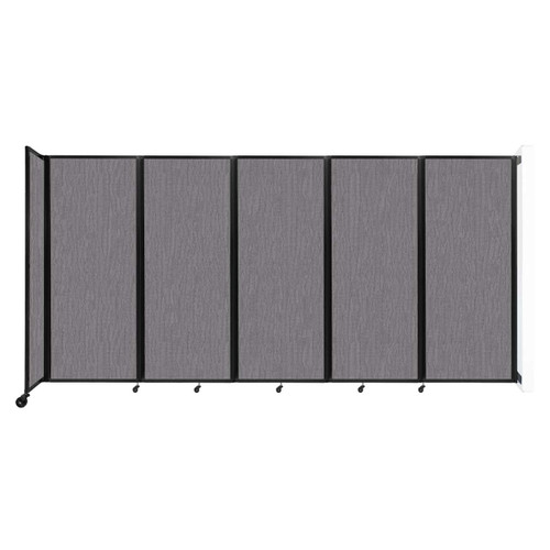 """Wall-Mounted Room Divider 360 Folding Partition 14' x 6'10"""" Slate Fabric"""