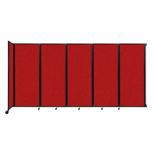 """Wall-Mounted Room Divider 360 Folding Partition 14' x 6'10"""" Red Fabric"""