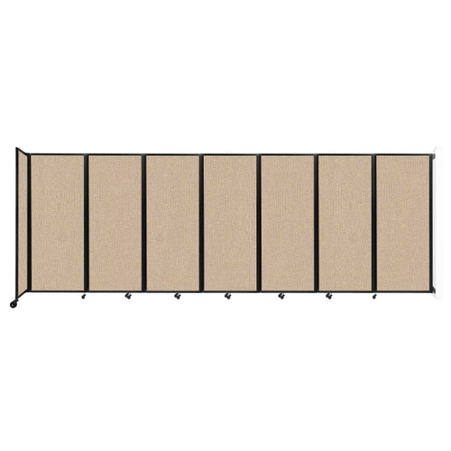 """Wall-Mounted Room Divider 360 Folding Partition 19'6"""" x 6'10"""" Beige Fabric"""
