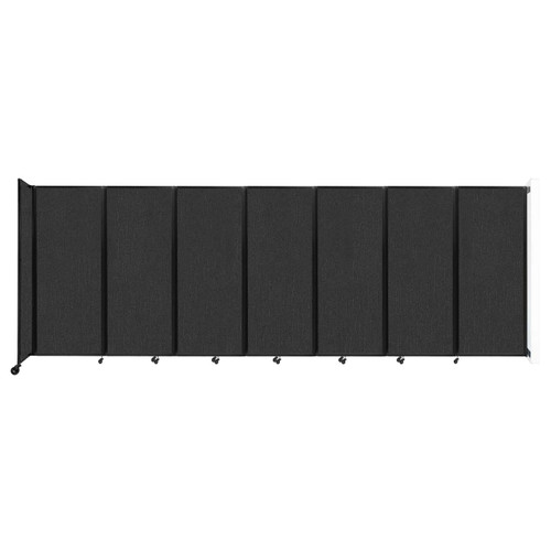 """Wall-Mounted Room Divider 360 Folding Partition 19'6"""" x 6'10"""" Black Fabric"""