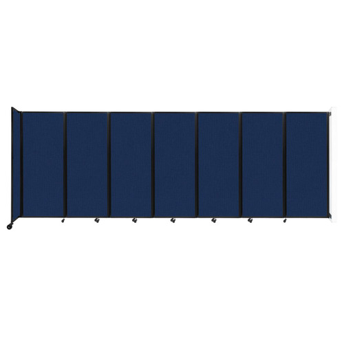 """Wall-Mounted Room Divider 360 Folding Partition 19'6"""" x 6'10"""" Navy Blue Fabric"""