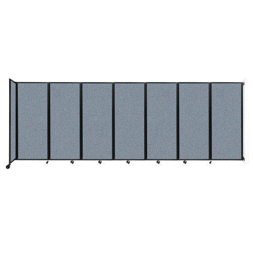 """Wall-Mounted Room Divider 360 Folding Partition 19'6"""" x 6'10"""" Powder Blue Fabric"""