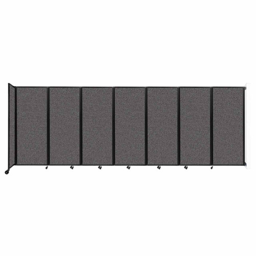 """Wall-Mounted Room Divider 360 Folding Partition 19'6"""" x 6'10"""" Charcoal Gray Fabric"""