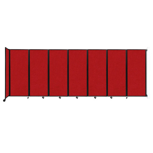 """Wall-Mounted Room Divider 360 Folding Partition 19'6"""" x 6'10"""" Red Fabric"""