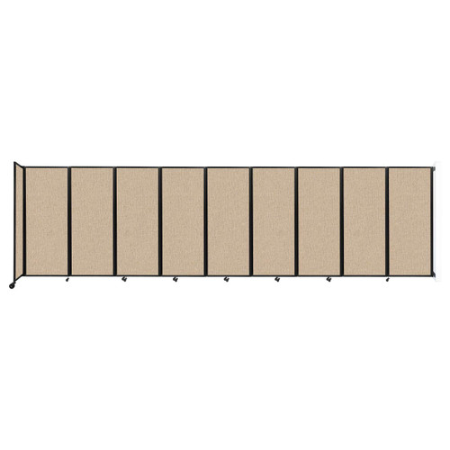 """Wall-Mounted Room Divider 360 Folding Partition 25' x 6'10"""" Beige Fabric"""