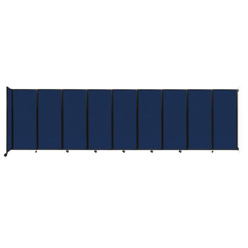"""Wall-Mounted Room Divider 360 Folding Partition 25' x 6'10"""" Navy Blue Fabric"""