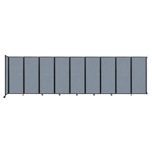 """Wall-Mounted Room Divider 360 Folding Partition 25' x 6'10"""" Powder Blue Fabric"""