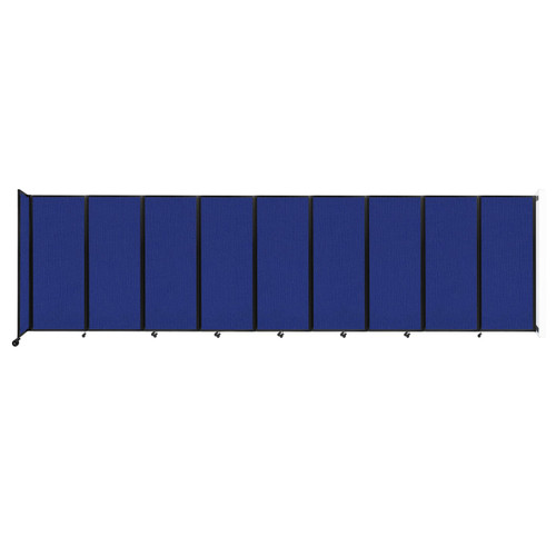 """Wall-Mounted Room Divider 360 Folding Partition 25' x 6'10"""" Royal Blue Fabric"""