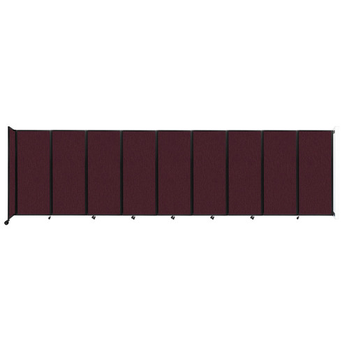 """Wall-Mounted Room Divider 360 Folding Partition 25' x 6'10"""" Cranberry Fabric"""