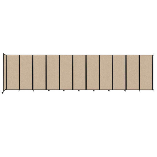 """Wall-Mounted Room Divider 360 Folding Partition 30'6"""" x 7'6"""" Beige Fabric"""