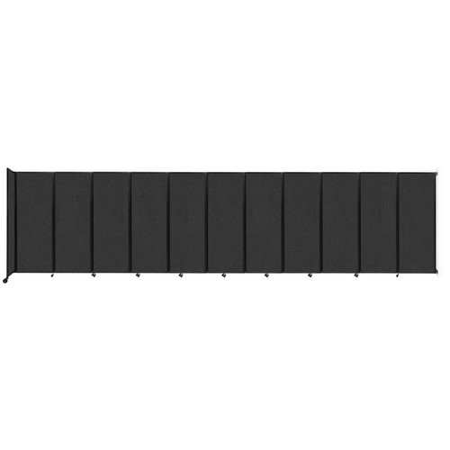 """Wall-Mounted Room Divider 360 Folding Partition 30'6"""" x 7'6"""" Black Fabric"""