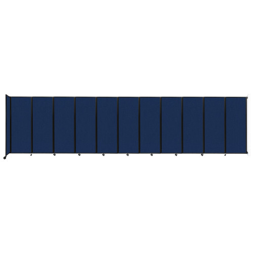 """Wall-Mounted Room Divider 360 Folding Partition 30'6"""" x 7'6"""" Navy Blue Fabric"""