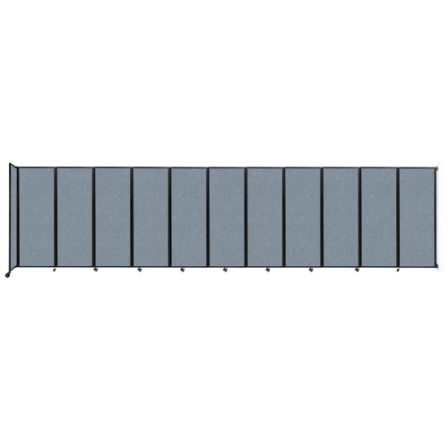 """Wall-Mounted Room Divider 360 Folding Partition 30'6"""" x 7'6"""" Powder Blue Fabric"""
