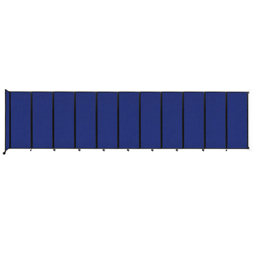 """Wall-Mounted Room Divider 360 Folding Partition 30'6"""" x 7'6"""" Royal Blue Fabric"""