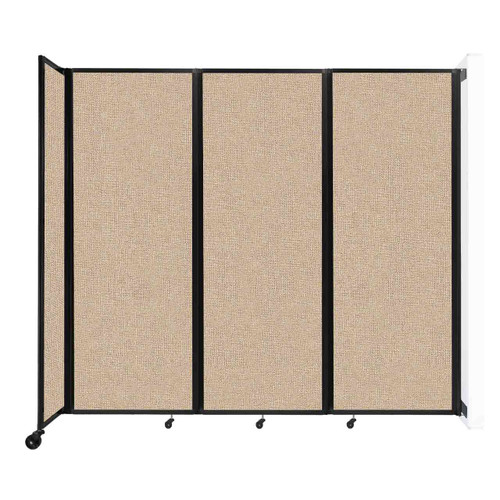 """Wall-Mounted Room Divider 360 Folding Partition 8'6"""" x 7'6"""" Beige Fabric"""