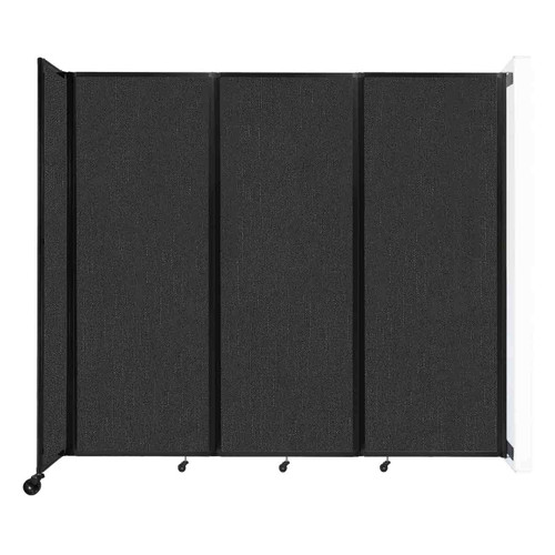 """Wall-Mounted Room Divider 360 Folding Partition 8'6"""" x 7'6"""" Black Fabric"""
