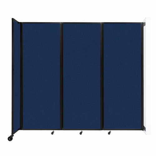 """Wall-Mounted Room Divider 360 Folding Partition 8'6"""" x 7'6"""" Navy Blue Fabric"""