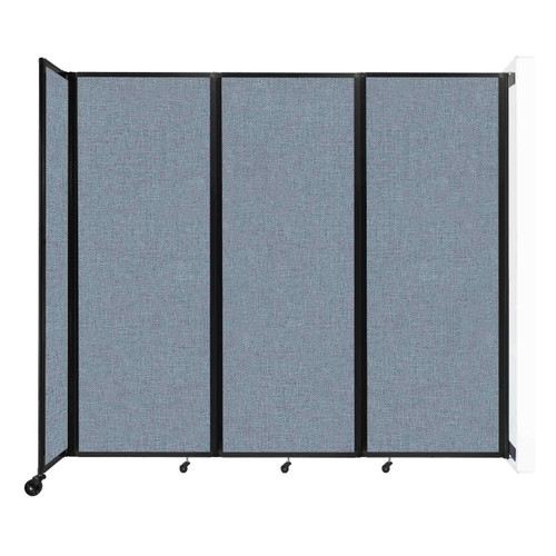 """Wall-Mounted Room Divider 360 Folding Partition 8'6"""" x 7'6"""" Powder Blue Fabric"""