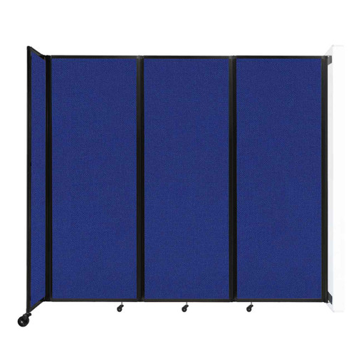 """Wall-Mounted Room Divider 360 Folding Partition 8'6"""" x 7'6"""" Royal Blue Fabric"""