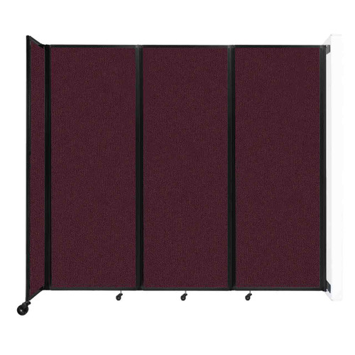 """Wall-Mounted Room Divider 360 Folding Partition 8'6"""" x 7'6"""" Cranberry Fabric"""