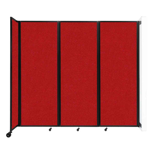 """Wall-Mounted Room Divider 360 Folding Partition 8'6"""" x 7'6"""" Red Fabric"""
