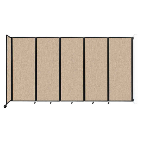 """Wall-Mounted Room Divider 360 Folding Partition 14' x 7'6"""" Beige Fabric"""