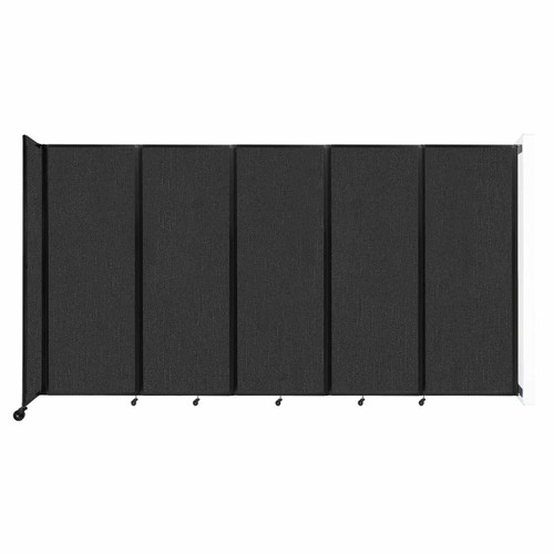 """Wall-Mounted Room Divider 360 Folding Partition 14' x 7'6"""" Black Fabric"""