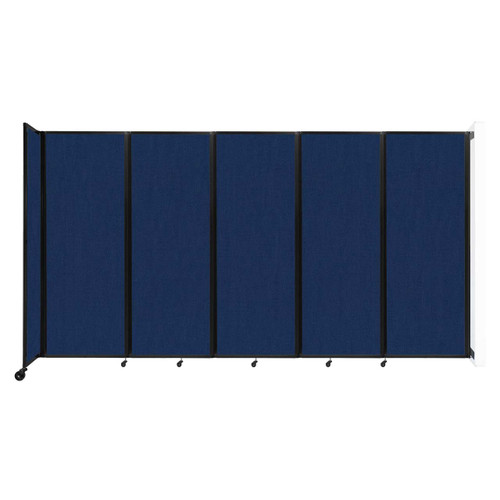"""Wall-Mounted Room Divider 360 Folding Partition 14' x 7'6"""" Navy Blue Fabric"""