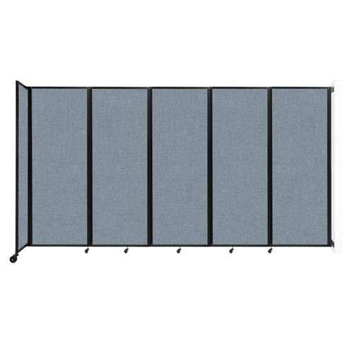 """Wall-Mounted Room Divider 360 Folding Partition 14' x 7'6"""" Powder Blue Fabric"""