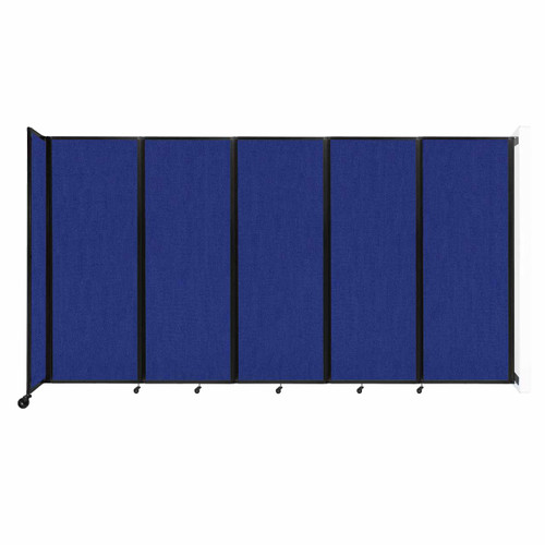 """Wall-Mounted Room Divider 360 Folding Partition 14' x 7'6"""" Royal Blue Fabric"""