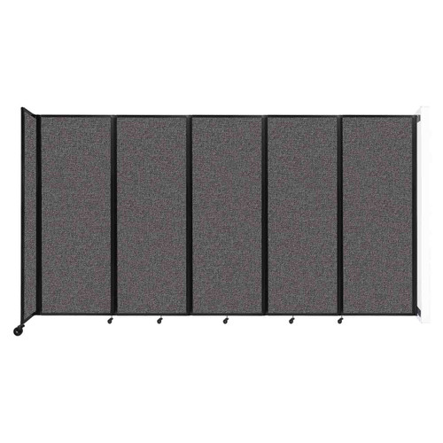 """Wall-Mounted Room Divider 360 Folding Partition 14' x 7'6"""" Charcoal Gray Fabric"""