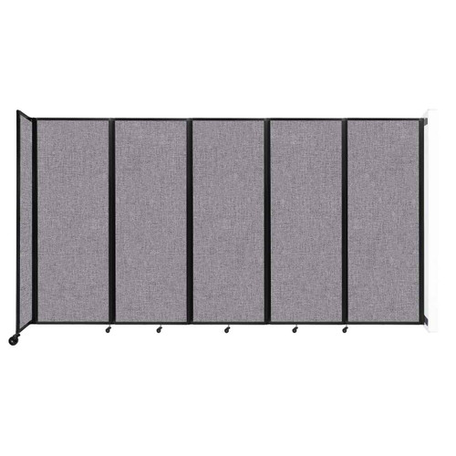 """Wall-Mounted Room Divider 360 Folding Partition 14' x 7'6"""" Cloud Gray Fabric"""
