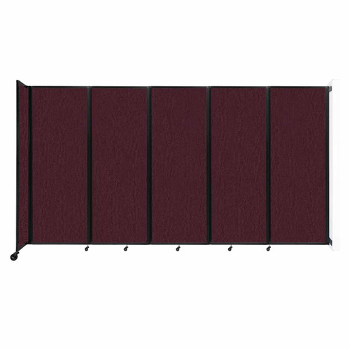 """Wall-Mounted Room Divider 360 Folding Partition 14' x 7'6"""" Cranberry Fabric"""