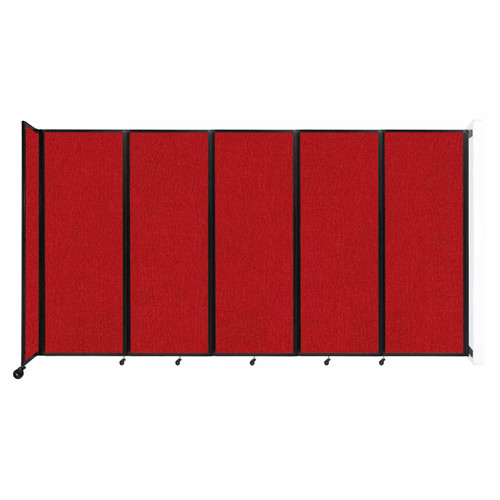 """Wall-Mounted Room Divider 360 Folding Partition 14' x 7'6"""" Red Fabric"""