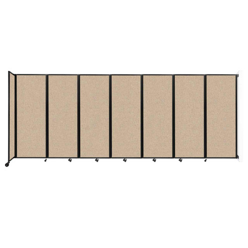 """Wall-Mounted Room Divider 360 Folding Partition 19'6"""" x 7'6"""" Beige Fabric"""