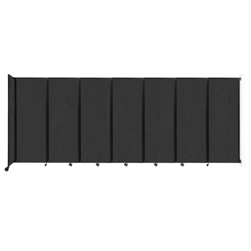 """Wall-Mounted Room Divider 360 Folding Partition 19'6"""" x 7'6"""" Black Fabric"""