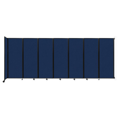 """Wall-Mounted Room Divider 360 Folding Partition 19'6"""" x 7'6"""" Navy Blue Fabric"""