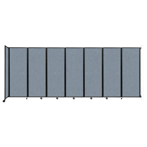 """Wall-Mounted Room Divider 360 Folding Partition 19'6"""" x 7'6"""" Powder Blue Fabric"""