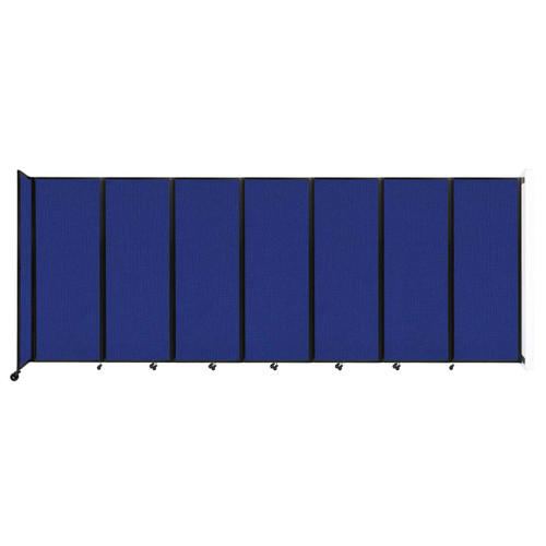"""Wall-Mounted Room Divider 360 Folding Partition 19'6"""" x 7'6"""" Royal Blue Fabric"""