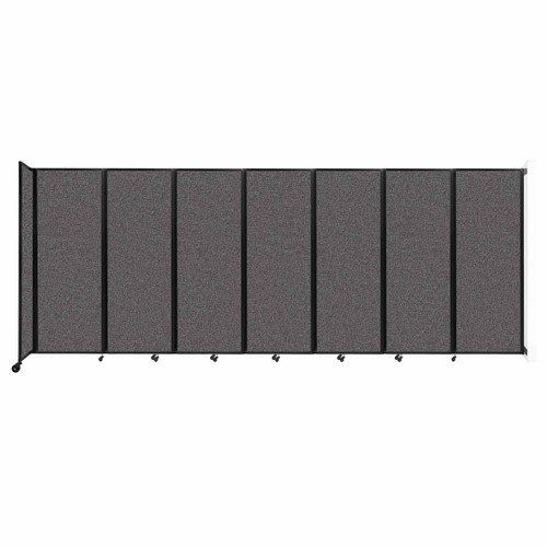 """Wall-Mounted Room Divider 360 Folding Partition 19'6"""" x 7'6"""" Charcoal Gray Fabric"""
