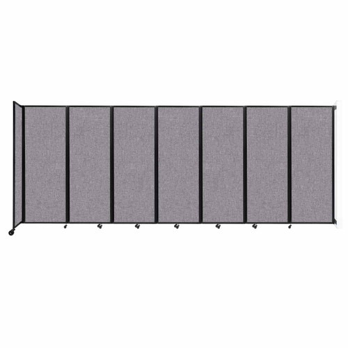 """Wall-Mounted Room Divider 360 Folding Partition 19'6"""" x 7'6"""" Cloud Gray Fabric"""