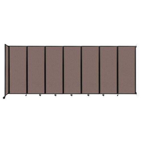 """Wall-Mounted Room Divider 360 Folding Partition 19'6"""" x 7'6"""" Latte Fabric"""