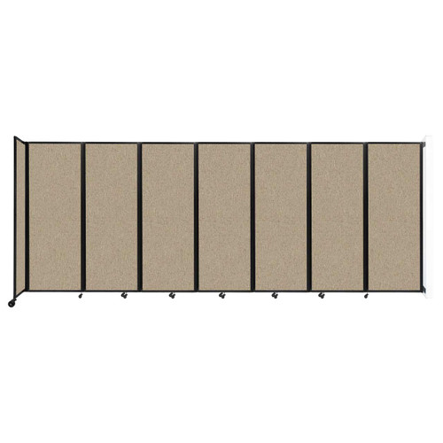 """Wall-Mounted Room Divider 360 Folding Partition 19'6"""" x 7'6"""" Rye Fabric"""