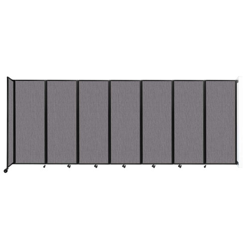 """Wall-Mounted Room Divider 360 Folding Partition 19'6"""" x 7'6"""" Slate Fabric"""