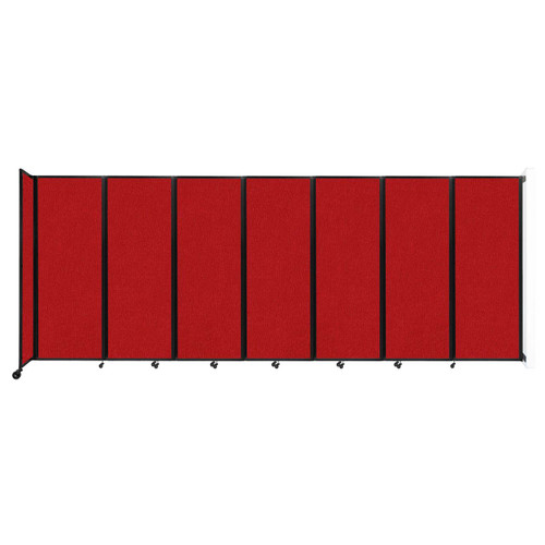 """Wall-Mounted Room Divider 360 Folding Partition 19'6"""" x 7'6"""" Red Fabric"""
