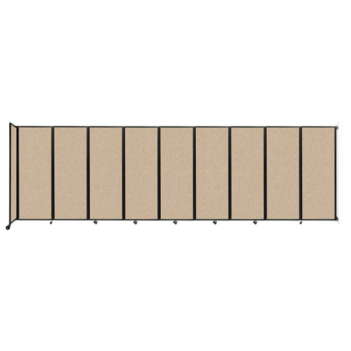 """Wall-Mounted Room Divider 360 Folding Partition 25' x 7'6"""" Beige Fabric"""