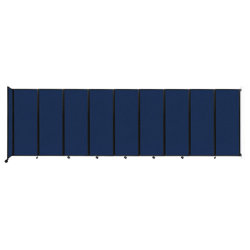 """Wall-Mounted Room Divider 360 Folding Partition 25' x 7'6"""" Navy Blue Fabric"""