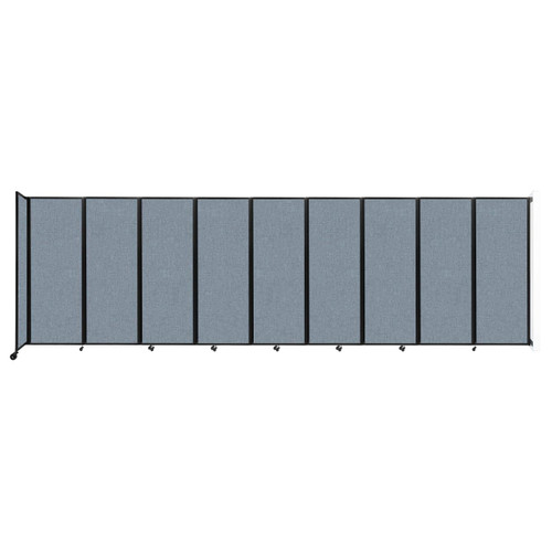 """Wall-Mounted Room Divider 360 Folding Partition 25' x 7'6"""" Powder Blue Fabric"""